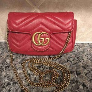 NWT Gucci Marmont Matelasse Should Bag Red Leather